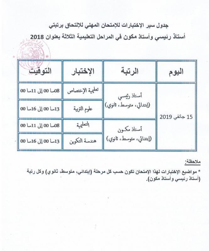 Tab deroul exam prof 2018